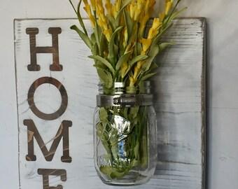 Home Rustic Wall Sconce, Farmhouse Decor, Rustic Mason Jar Vase, Mason Jar Wood Sign, Farmhouse Sign