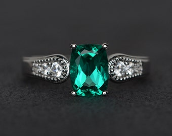 emerald ring silver green gemstone ring emerald engagement ring cushion cut