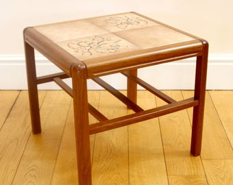 Danish Mid Century Tiled Teak End/Coffee Table With Magazine Rack