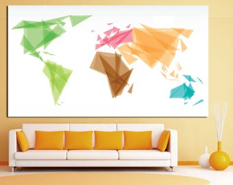 Large Geometric wall map canvas wall art Geometric world map Abstract world map modern world map print large canvas art print for home decor