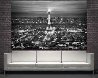 Night Eiffel Tower Paris photography large wall art print, black and white travel photo Paris decor Paris photo art print on canvas wall art