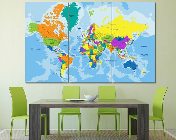 Large colorful world map with country names, push pin travel map of the world, colorful atlas world map wall art decor, travel map wall art