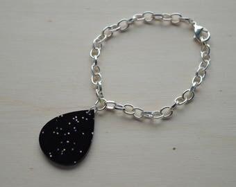 Black Glittery Charm Bracelet