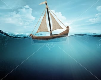 Buy 3 get one free. Underwater Digital Backdrop / Background with Boat, High Resolution, Instant Download.
