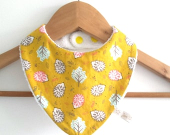 Bib Bandana girl fabric cotton printed Hedgehog on a mustard yellow background