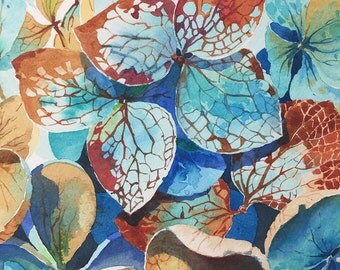 ORIGINAL. Watercolor. Hydrangea in autumn. Flowers.