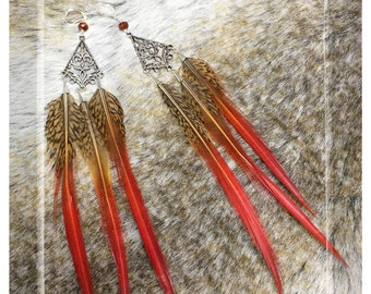 SALE 25% OFF, Red Pheasant Tail Feather Earrings, Silver Feather Earings, Viking Earrings