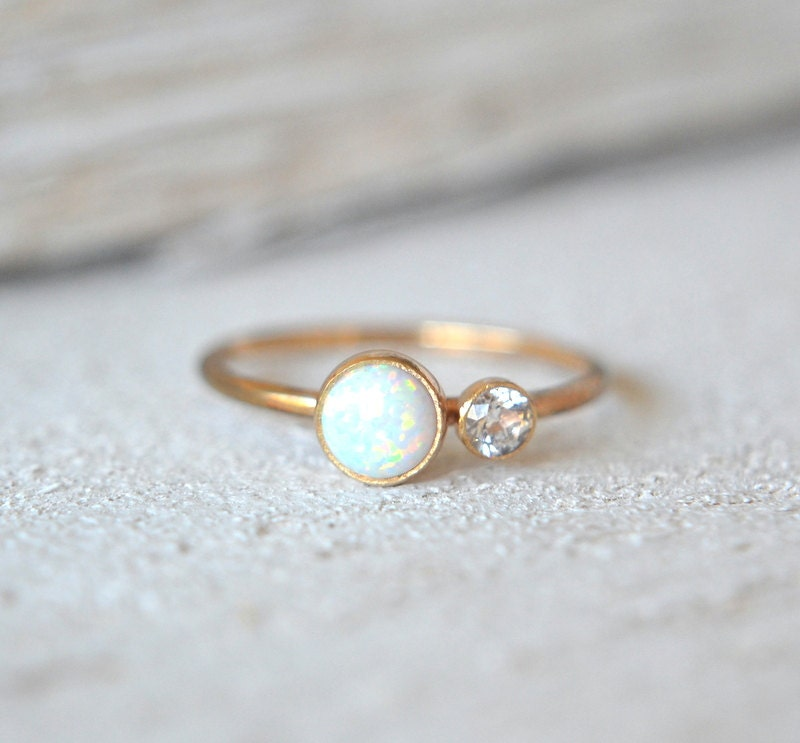 solid gold opal ring white opal solid gold ring 14k by