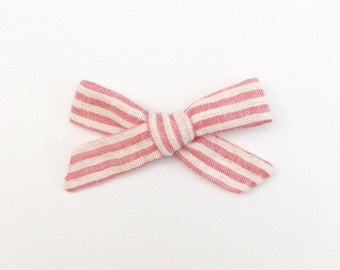 Pink Striped Bow - Hand Tied Bow - Baby Bows - Baby Hair Clips - Baby Headbands - Toddler Headband - Baby Hair Bows - Hair Bows