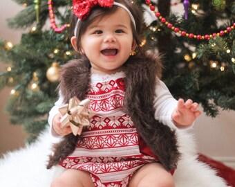 Faux fur vest - brown faux fur vest - girls fur vest - baby fur vest - warm vest - faux fur vest - brown fur vest