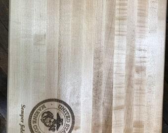 USMC Laser Etched Cutting Board