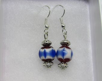 Red, White and Blue Glass Beaded Earrings
