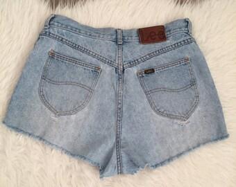 Vintage 80s Lee Cut Off Denim Shorts Size 34
