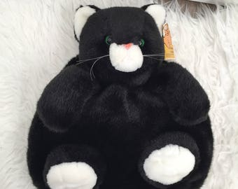 Vintage 90s Black And White Fuzzy Cat Backpack NWT