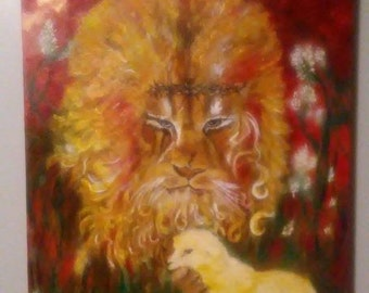 lion laying down with lamb painting