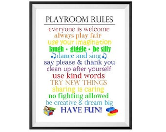 Playroom Rules, Children, Sibling, Friends, Play, House Rules, Fun, Kids, Boys&Girls, Colorful Print, Silly, Imagination Printable