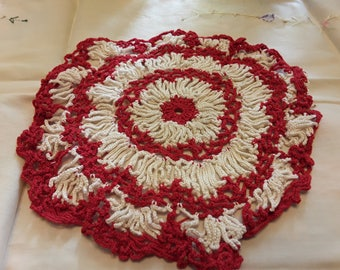 Vintage handmade red and white Doily