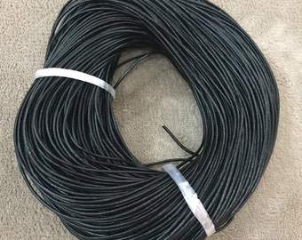 Black Genuine Leather Cord, Jewelry Supplier, Round Leather String Cord, Natural leather, Leather Cord, 1.5mm Leather cord, 10meters,LEA-004