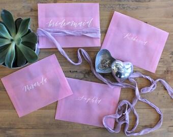 Calligraphy Envelopes, Hand lettered  Envelopes, Bridesmaids Gifts, Envelope Addressing, Vellum Envelopes, Wedding Envelopes
