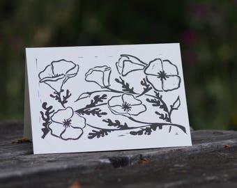 California Poppy Block Print Cards