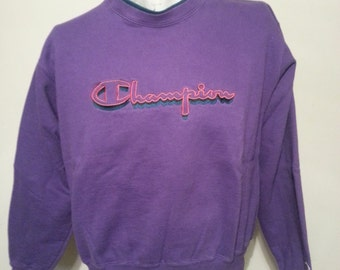 Vintage 90's Purple Chamion Spell Out Embroidered Sweat Shirt Size Large Made In USA Hipster Style