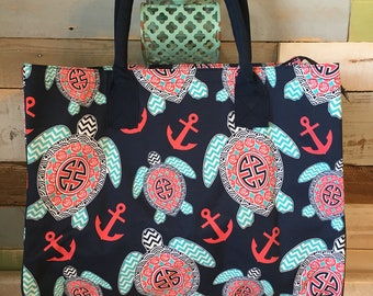 Monogrammed Tote, Turtle Tote, Nautical Tote, Anchor Tote Bag, Personalized Tote, Beach Bag, Beach Tote, Large Tote Bag, Beach Bag