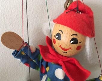 Vintage wood Schmider design marionette/clown/puppet/miniature wood marionette
