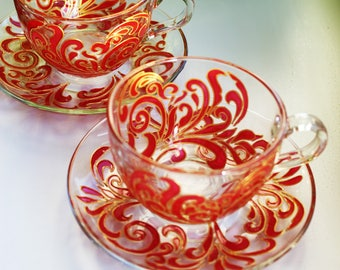 Tea Cup Set Cheap tea cups and saucers, Glass Tea Cups Unique Tea Cups Cup Set Tea Sets for Girls Red teacup sets Cups and Mugs