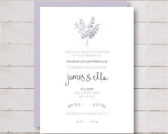 Floral Wedding Stationary, Lavender Wedding Invites, Purple Wedding  Invitations, Flower Wedding Stationery,