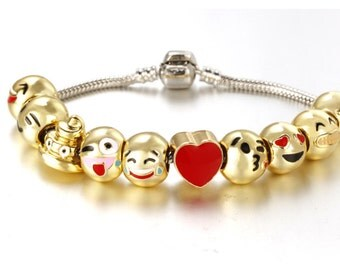 Emoji bracelet 18k gold  plated 10 charms smiley faces included 2 sizes chain 17cm & 20 cm