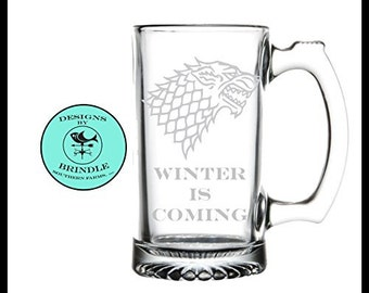 House Stark - Game of Thrones Etched Large 28oz. Glass Beer Mug Winter Is Coming Game of Thrones Beer Mug