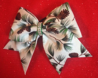 Green holiday sparkle cheerleader bow