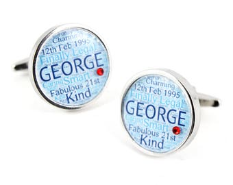Personalised Sparkly Word Art Cufflinks with Swarovski Birthstone. Birthday Keepsake.