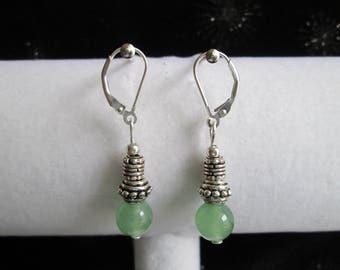 Bali Style Sterling Silver and Green Jade Gemstone Earrings