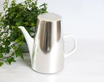 Vintage Melitta coffee pot, white coffee pot, insulated coffee pot, silver coffee pot, Melitta coffee maker, white teapot, coffee pot warmer