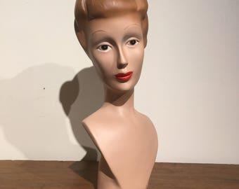 Vintage Headbust / Jewelry Headbust Display / Androgynous Mannequin