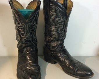 Black leather and alligator skin western pull on boots Mens size 12 - Mexico Mexican genuine Mex sz 31 Cowboy hippie rockabilly denim rough