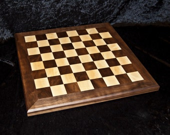 solid wood handmade chessboard in walnut and rippled sycamore