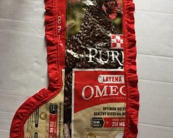 Chicken feed bag stocking