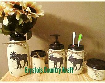 moose bathroom set moose soap jar moose toothbrush holder qtip and