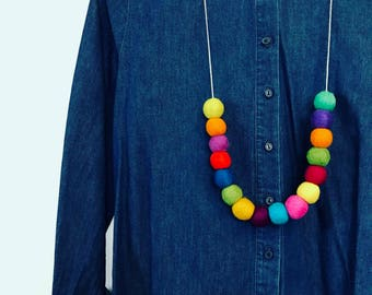 Multi-colour felted wool necklace