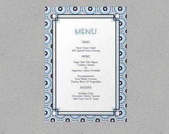 Retro Wedding Menu Personalised