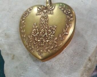 Edwardian 14k Repousse With Florentine Finish Heart Shaped Locket