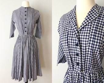 vintage 50s blue gingham dolman sleeve dress // extra small