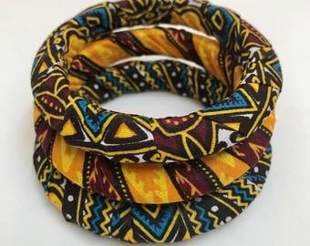 African bangle set,Tribal jewellery,Ankara bangles