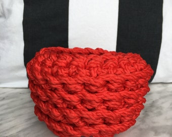 red catch all basket