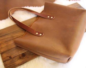 Everyday Tote Bag, Tote bag, leather tote bag, leather purse, raw edge leather, bandito leather bag