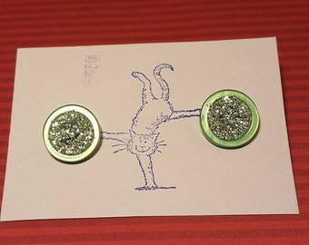 Handmade set of two green and silver glitter button silver plated earrings