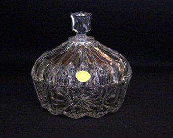 "Vintage crystal dish with lid ""Bleikristall geprest""-German glassware"