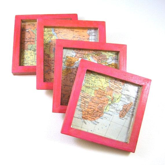 World map coasters, square
